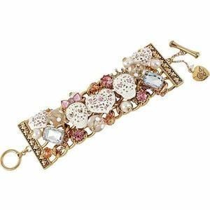 Betsey Johnson white lace crystal skull bracelet